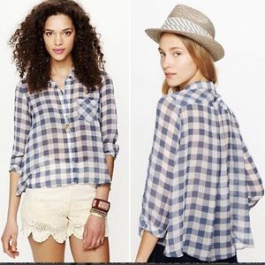 Free People Sheer Boxy Gingham Check Blouse